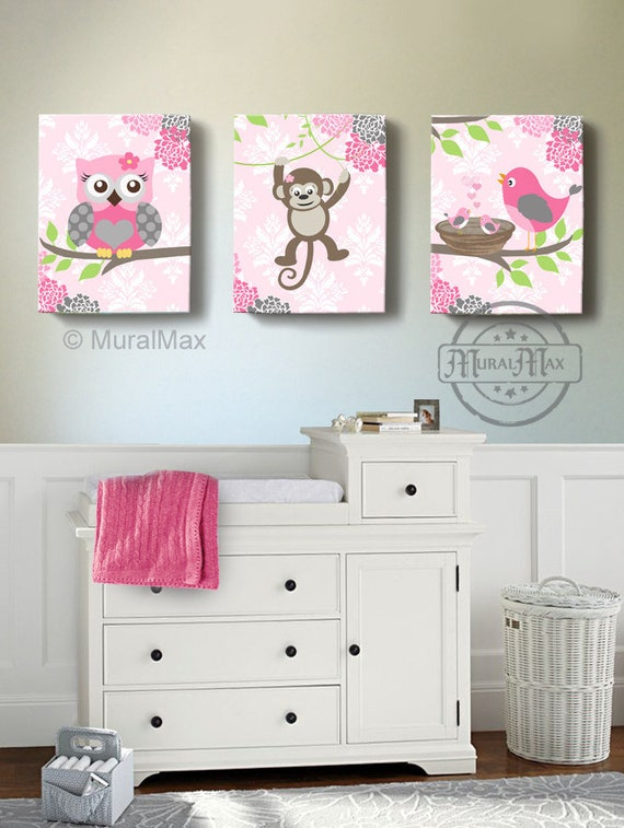 owl decor baby girl nursery art owl monkey bird canvas art etsy rh etsy com