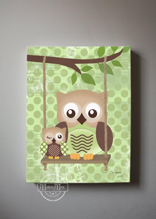 Owl Decor Boys Wall Art OWL Canvas Art Baby Nursery Owl