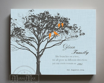 Personalized Family Tree Canvas Art - Family Like Branches on the Tree Quote, Gift for Couples,Wedding Anniversary Gift,