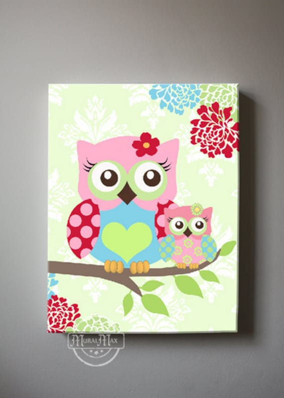Floral Nursery Decor Owl Nursery Canvas Art Girls Wall Art Owl Canvas Art Baby Girl Nursery Art Pink And Aqua