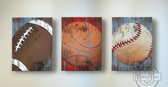 Vintage Sports Wall Art Basketball Baseball And Football