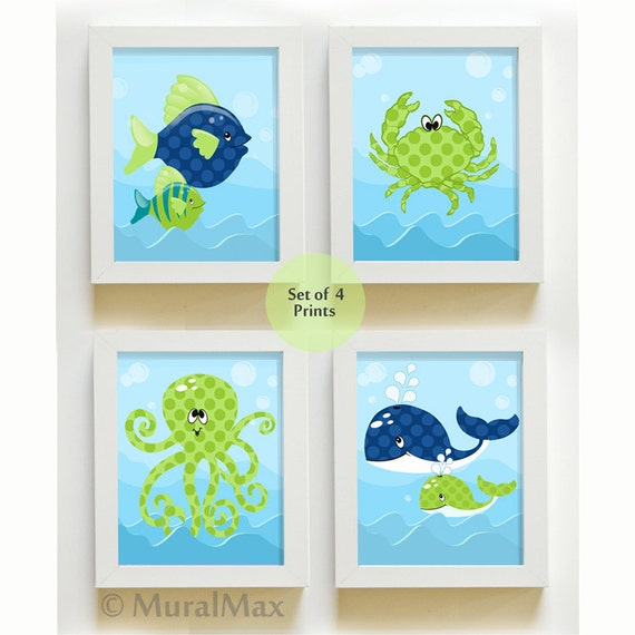 Charmant Sea Life Ocean Creatures Kids Room Bathroom Decor Nursery Art | Etsy