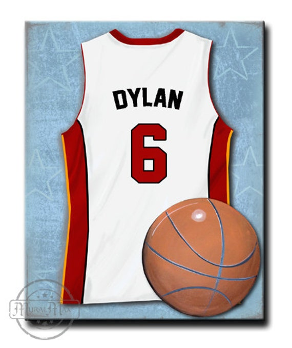 official photos 4d959 72d0a Miami Heat Personalized Basketball Jersey Uniform Canvas Art for Nursery  and Boys Room Decor