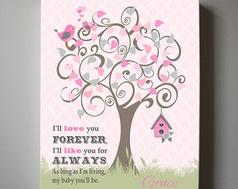 Baby Girl Nursery Wall Art, I love you forever I like you for always Canvas Art Tree Nursery Girl wall art, Pink Girls Room Decor