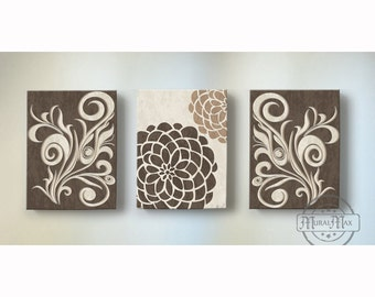 Dahlia Floral Canvas Wall Art Set, Home decor, Living Room Family Room Wall Art -Set of Three Canvas in brown