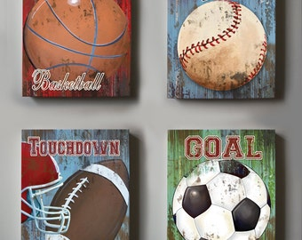 Wall Decor Sports Set of 4 Canvas Art  - Sports Room Decor - Canvas Art, All Star Boy Room Decor,  4 Piece Canvas Art