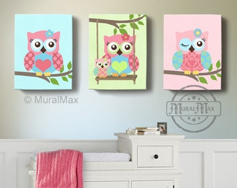 Girl Room Decor - OWL canvas art, Baby Nursery  Owl Canvas Set,  woodland nursery art , Owl print for nursery.