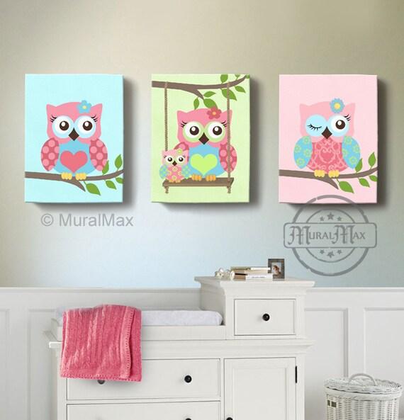 Girl Room Decor OWL Canvas Art Baby Nursery Owl Canvas Etsy Inspiration Canvas Prints For Baby Room