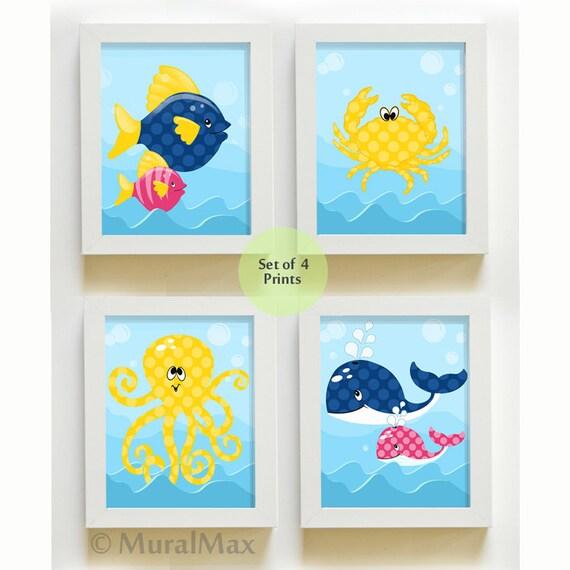 Sea Life Ocean Creatures Kids Room Bathroom Decor Nursery Art Print Set,  Girl Room Decor Wall Art , Crab ,Octopus , Whale , Fish