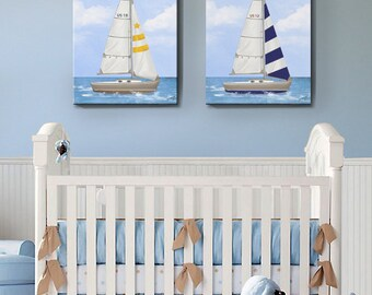 Sailboat Nursery Art, Baby Nursery Room Decor, Nautical Sailboat Nursery Canvas set, Nautical art set of two