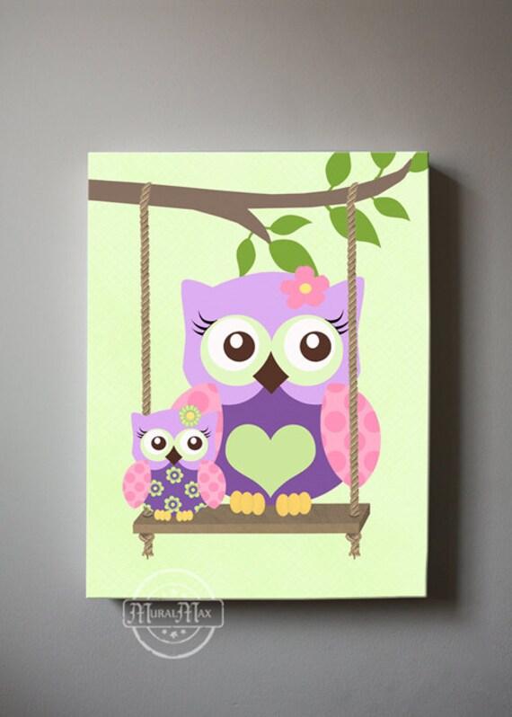 OWL Wall Art Nursery Canvas Canvas Art Owl Decor Girl Wall