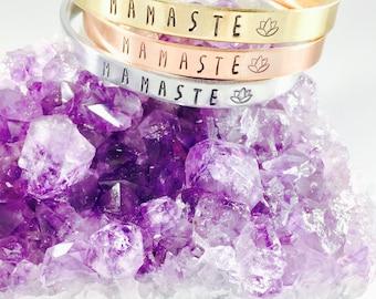 Mamaste - namaste bracelet - Yoga Mama - Yoga Mom - Yoga Bracelet - Hand stamped bracelet - lotus bracelet - gift for yogi - Mother's Day