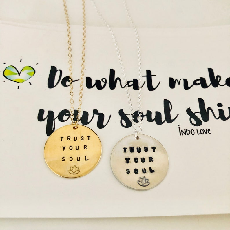 Disc Necklace Intentional Jewelry Mantra Necklace Yoga gifts Custom Coin Necklace Hand Stamped Necklace Trust the Universe