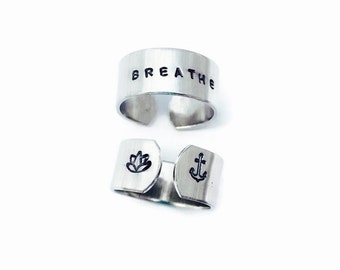 Breathe Ring - Yoga Ring - Just Breathe - Hand Stamped Ring -  Mantra Ring -  Gift for her Inspirational Jewelry  - Nautical Jewelry