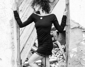 ZANURA Shoulder less Laced long sleeve top, long sleeve dress, lace dress, pull string dress/top, handmade, adjustable dress/top.
