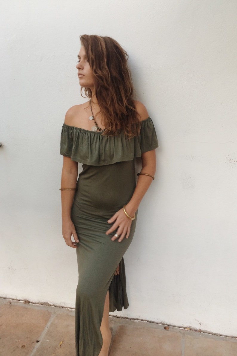 BUTTERFLY Long boho maxi dress with slits on both sides with small overlay of fabric.