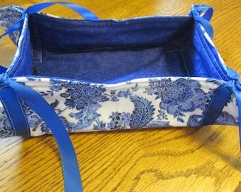 Bread Basket, Decorative Basket, Quilted Blue Basket, Fabric Basket