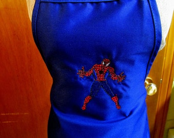 Kid's Spiderman Apron, Embroidered Apron