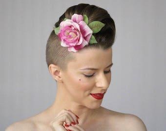 "Pink Rose Clip for Women, 1930s Hair Flower, Vintage Rose Fascinator, 1940s Floral Headpiece - ""Knock Me a Kiss"""