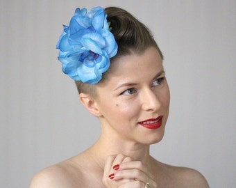 "Turquoise Headpiece, Tropical Flower Fascinator, Blue Floral Hair Accessory Clip, Vintage Hair Clip Womens 1950s Anemones - ""Fluidic Garden"""