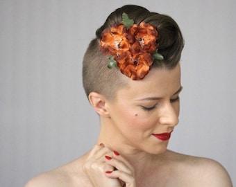 "Fall Hair Clip, Orange Floral Fascinator Autumn Hair Accessory Burnt Orange Headpiece 1950s Hair Flower Vintage Headband - ""Pumpkin Soufflé"""