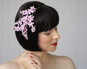 """Lilac Headband for Adult, Flower Hair Band for Women, Pink Floral Fascinator, 1950s Spring Headpiece, Vintage Wedding - """"Perfumed Dreams"""""""