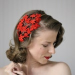 "Red Velvet Fascinator, Fall Leaf Headband, 1950s Hair Accessory, Christmas Hairpiece, Vintage Leaves Headpiece, Holiday - ""Crimson Ivy"""