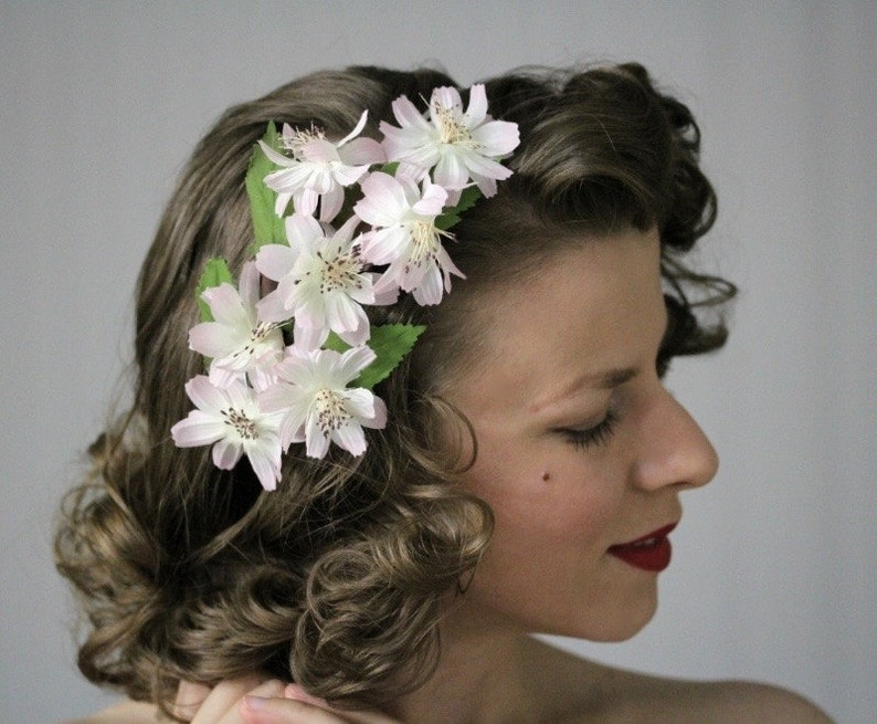 1940s Hairstyles- History of Women's Hairstyles Vintage Headpiece Light Pink Headband Floral Fascinator Silk Flower Hair Accessory Blush Hairpiece 1950s Cosmos -