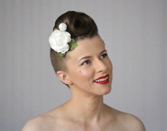 Weiße Kamelie Clip Blume Haar-Accessoires weiße Blumen Clip