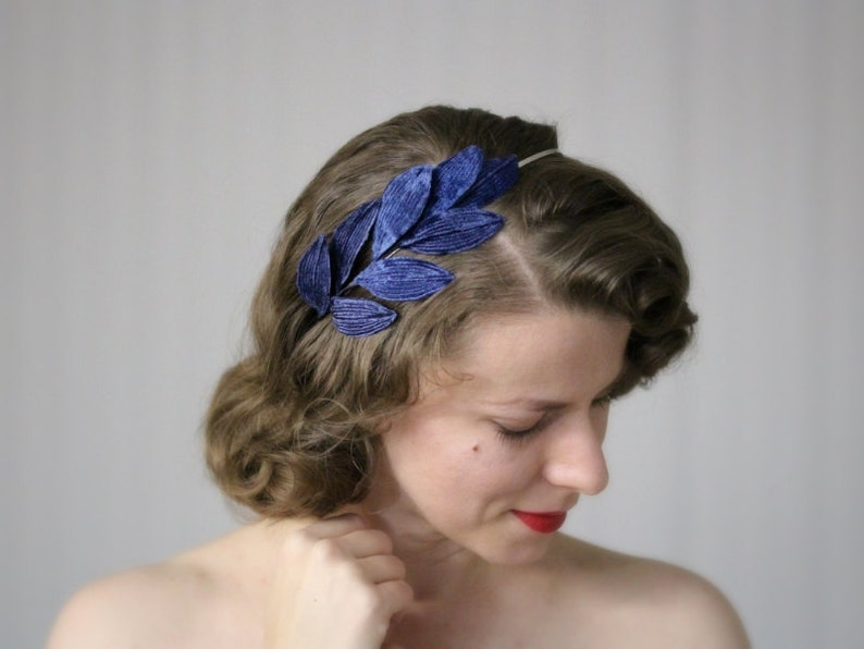 Navy Leaf Headband Dark Blue Hair Accessory Womens Hair image 0