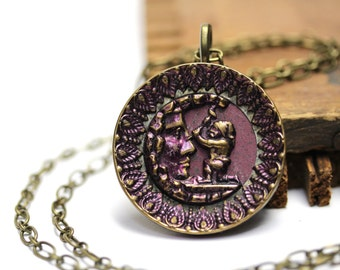 """Gnome Necklace, Man in the Moon Jewelry, Antique Button, Keepsake Necklace, 19th Century, Jewelry Fairytale Magic - """"Made by Moonlight"""""""