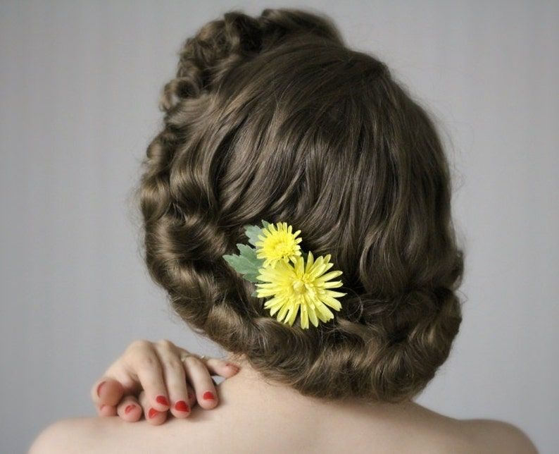 Yellow Flower Clip Hair Accessory 1950s Floral Hairpiece image 0