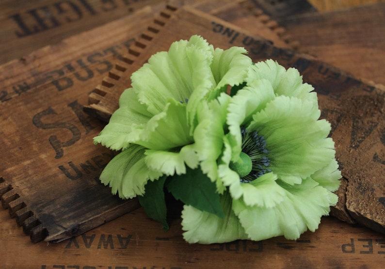 Giant Poppy Clip Large Flower Fascinator Green Floral image 0