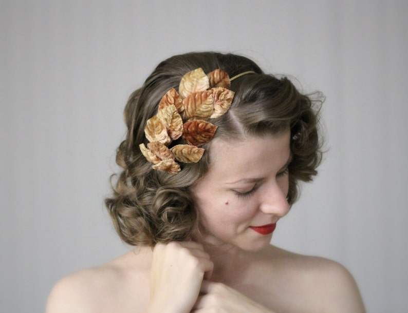 Leaves Hair Accessory Brown Gold Headband Fall Fascinator image 0