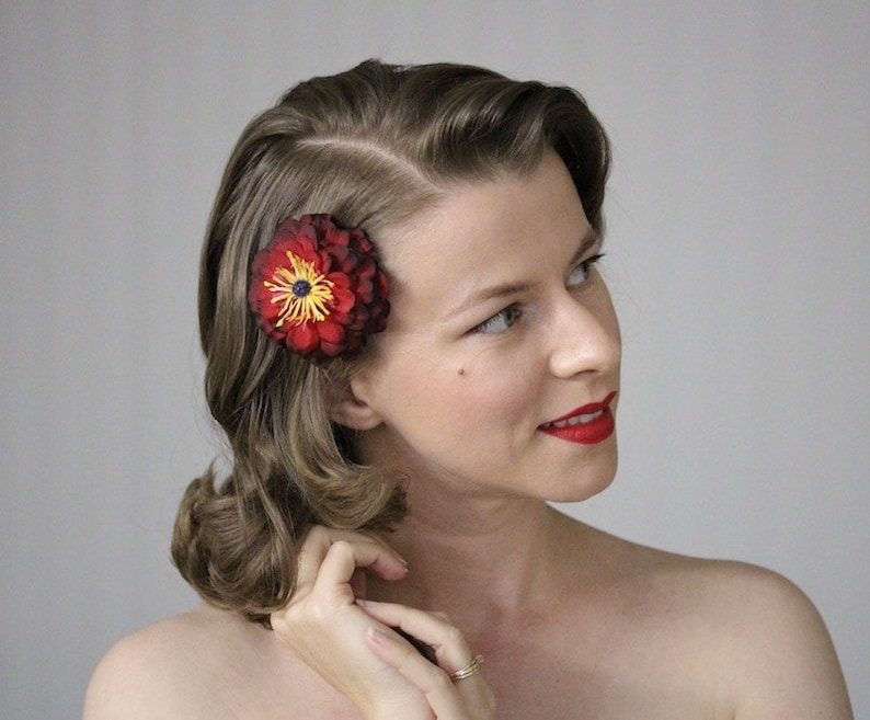 Burgundy Red Flower Clip Small Hair Accessory 1950s Floral image 0