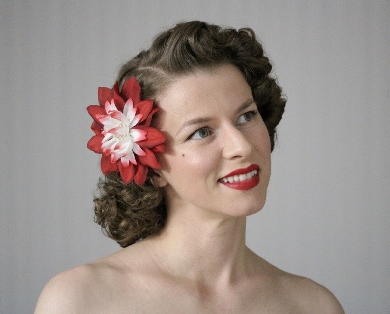 Red Hair Flower Clip 1950s Floral Fascinator Red Hair image 0