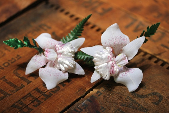 """Orchid Hair Clips, White Flower Headpiece, 1950s Hair Accessories, Vintage Floral Fascinator Set - """"Moonlight Cocktail"""""""