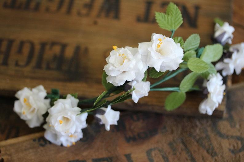 White Rose Clip for Womens Hair Wedding Crown Bridal Hair image 0
