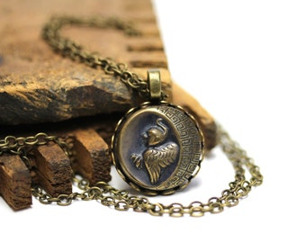 "Harpy Necklace, Greek Mythology Jewelry, Antique Button, Roman Myth Charm Necklace, 19th Century - ""Violent Winds Approach"""