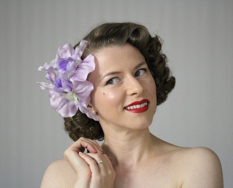 1940s Hairstyles- History of Women's Hairstyles Orchid Fascinator Lavender Hair Accessory Purple Flower Headpiece Tropical Clip 1950s Destination Wedding Headband -