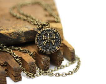 """Butterfly Necklace, Antique Button Jewelry, Brass Heirloom Necklace Keepsake, Victorian Gift for Her - """"Heart Aflutter"""""""