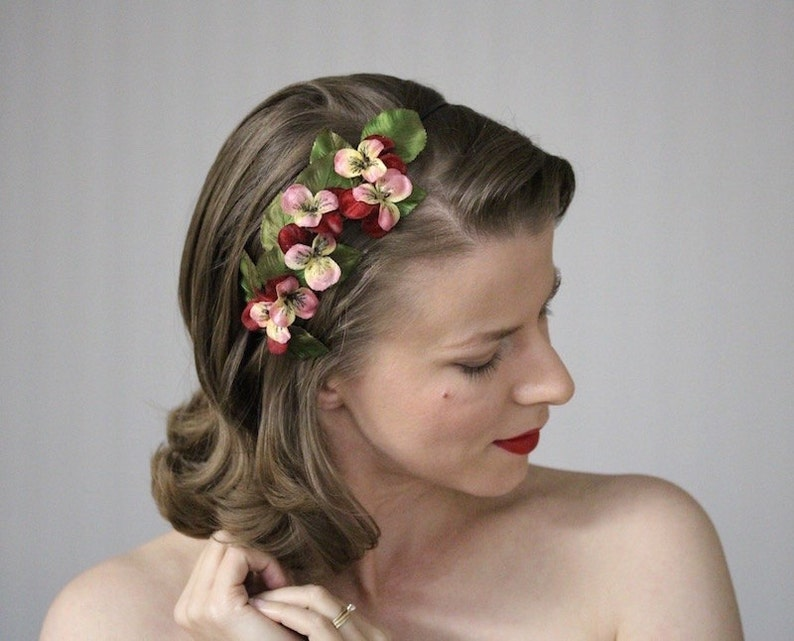 1940s Hairstyles- History of Women's Hairstyles Pansy Headband Red Flower Hair Band Pink Floral Hair Accessory 1950s Headpiece Holiday Party Fascinator Women -