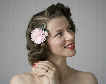 """Pink Flower Clip Hair Accessory, 1950s Fascinator, Small Hairpiece Floral Hair Clip, Pink Chrysanthemum, Vintage Hair - """"Tickle Me Pink"""""""