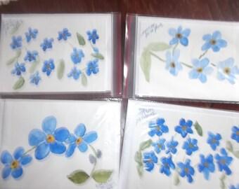 Original Handpainted watercolor cards.  Forget me not