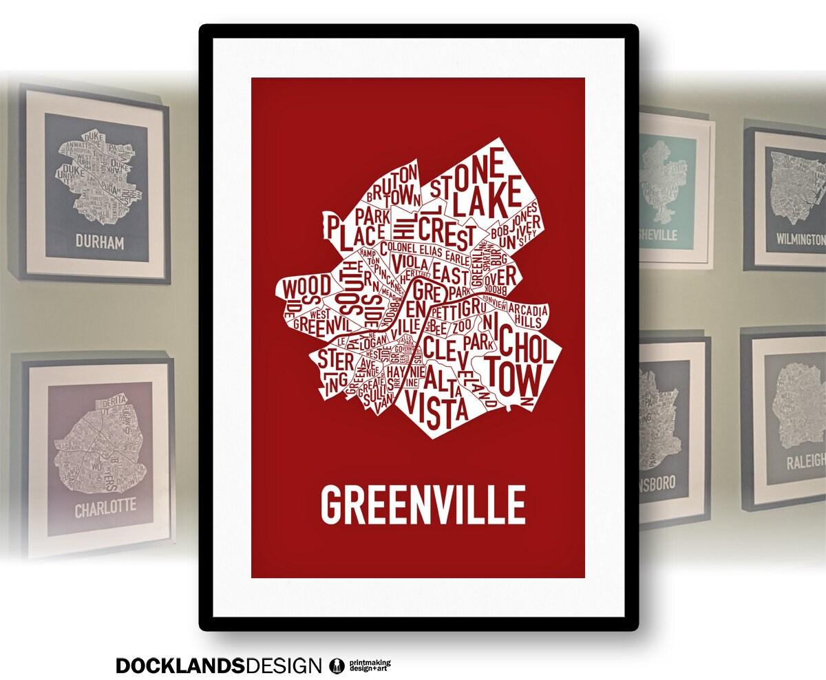 Greenville South Carolina Neighborhoods Screen Print Map   Etsy