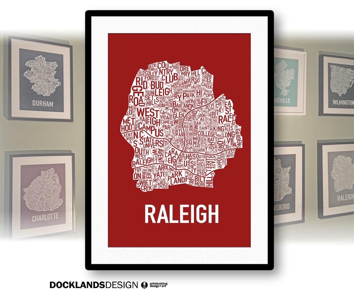 Raleigh North Carolina Neighborhood Screen Print Map | Etsy