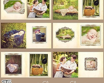 "10x10in Album/Photobook Templates for Adobe Photoshop, ""Classic Chic"""