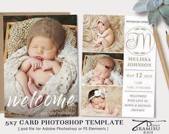 Birth Announcement Template, Birth Announcement Card,   Photoshop Template sku ba18-3