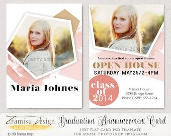 Senior Graduation Announcement Card 5x7in Photoshop Template,Photoshop Template for Photographers,Photo Card Template,sku21-2