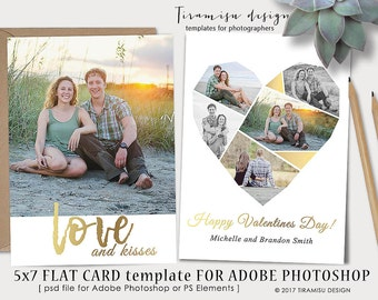 Valentines Day 5x7 Card Template for Adobe Photoshop ,5x7 Print Template for Adobe Photoshop, sku v17_1